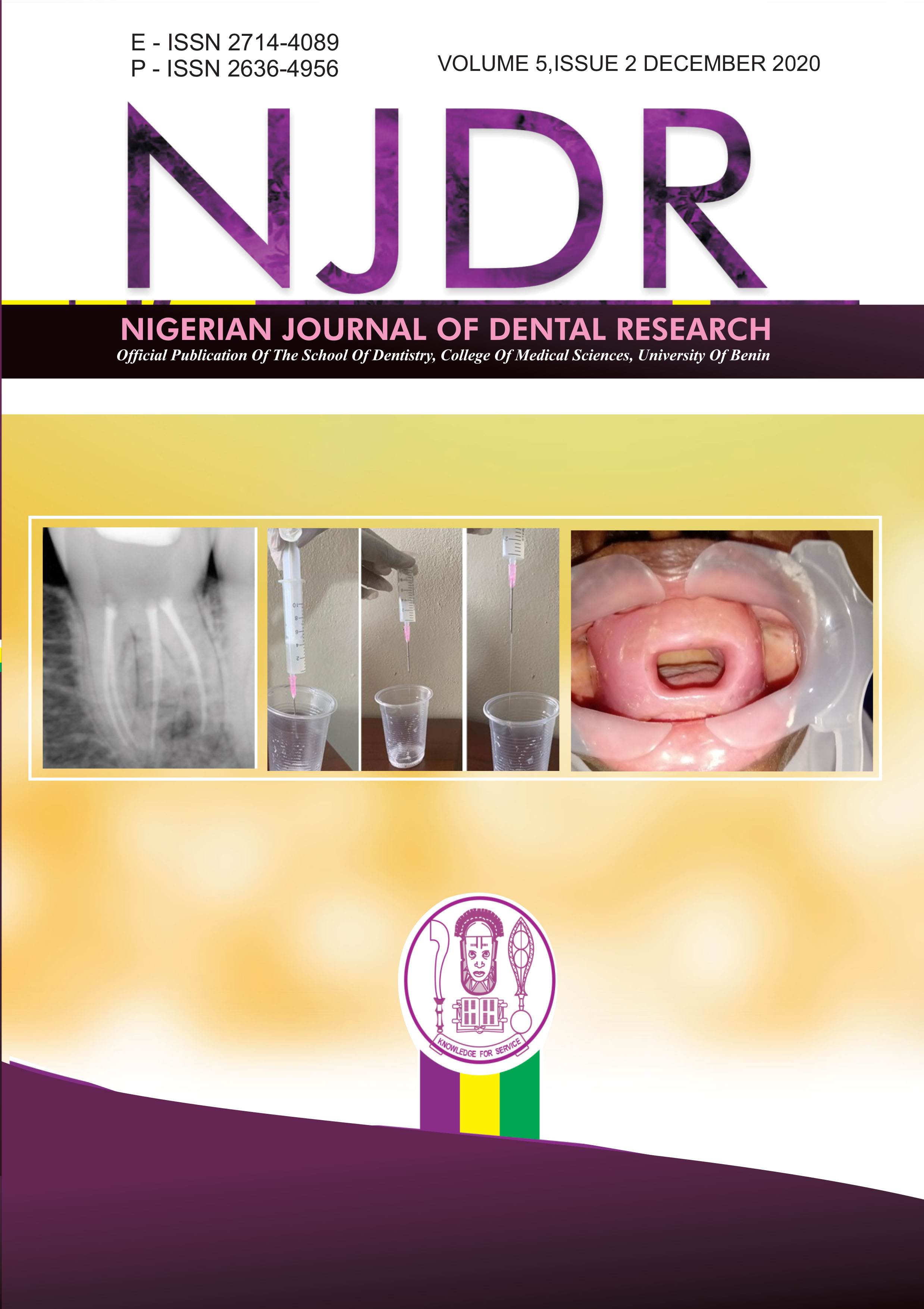 View Vol. 5 No. 2 (2020): Nigerian Journal of Dental Research