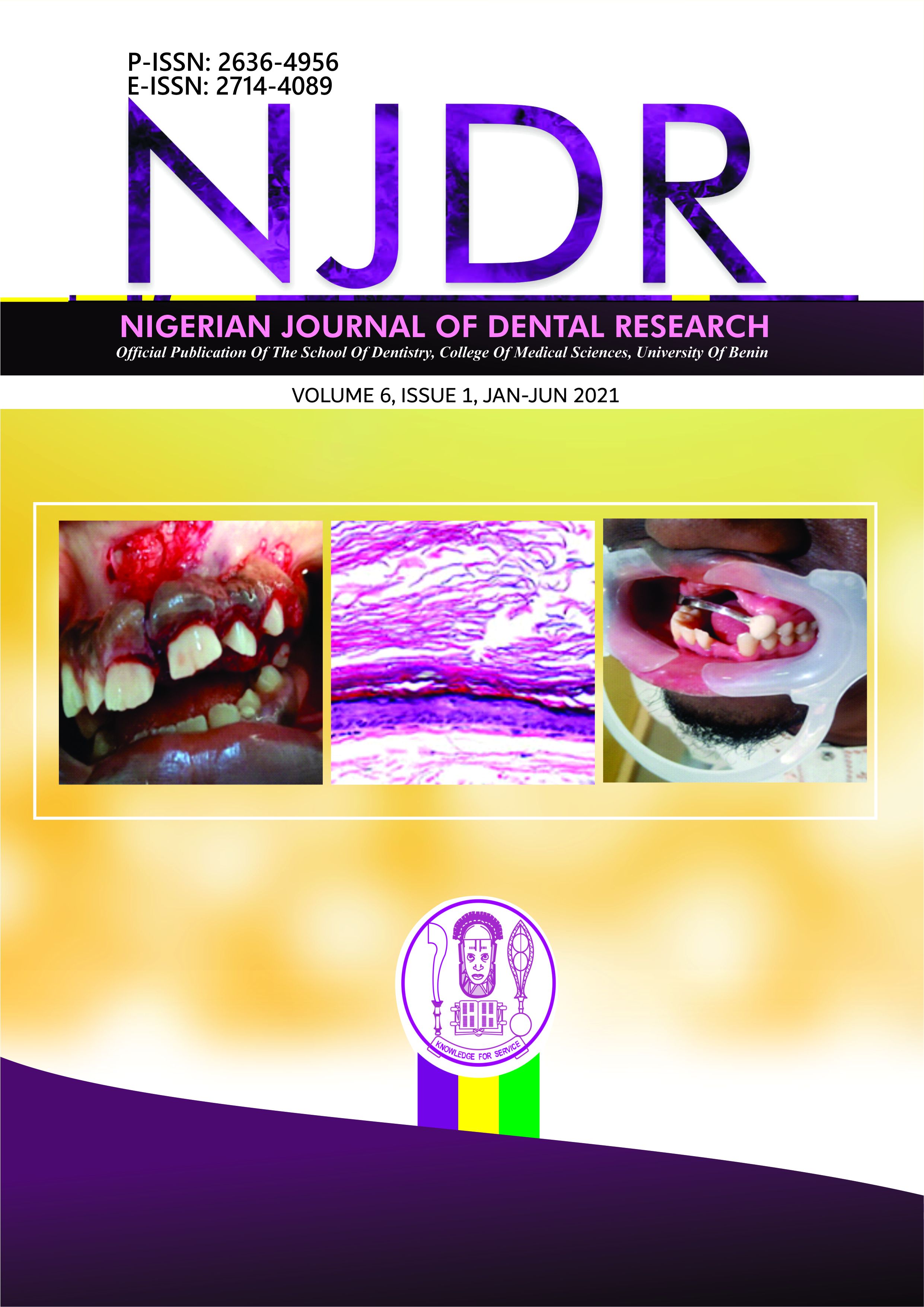 View Vol. 6 No. 1 (2021): Nigerian Journal of Dental Research
